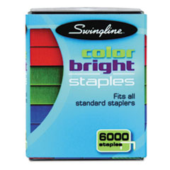 Swingline Color Bright Staples, Assorted Colors, Blue, Red, Green, 6,000/Pack