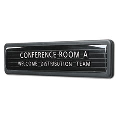 Quartet Magnetic Wall/Desk Nameplate, Radius Edge, Dark Gray Plastic Base, 3
