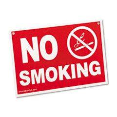 Advantus Economy No Smoking Wall Sign, Plastic, 12 x 8, Red