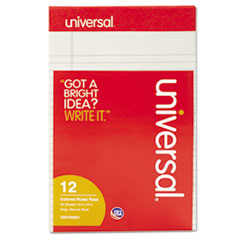 Universal Colored Perforated Note Pads, Wide Rule, 5 x 8, Gray, 50-Sheet, Dozen