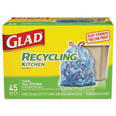 CLO 78542BX Glad® Tall Kitchen Blue Recycling Bags CLO78542BX