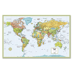 M-Series Full-Color Laminated World Wall Map, 50 x 32