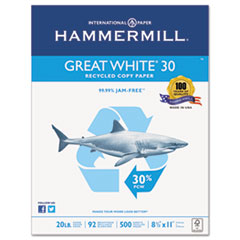 Hammermill Great White Recycled Copy Paper, 92 Brightness, 20lb, 8-1/2 x 11, 5000 Shts/Ctn