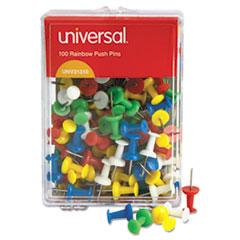 Universal Colored Push Pins, Plastic, Rainbow, 3/8