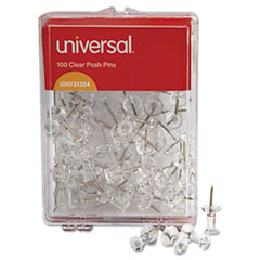 Universal Clear Push Pins, Plastic, 3/8