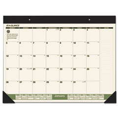 AT-A-GLANCE Recycled Monthly Desk Pad, 22 x 17, 2016