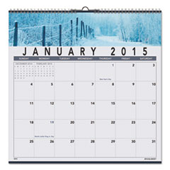 AT-A-GLANCE Recycled Open Plan Landscape Wall Calendar, 12 x 12, 2015