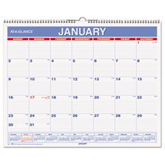AT-A-GLANCE Monthly Wall Calendar, 15 x 12, Red/Blue, 2016