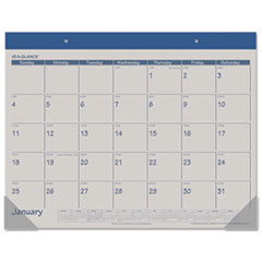 AT-A-GLANCE Recycled Fashion Desk Pad, Blue, 22
