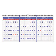 AT-A-GLANCE Recycled Three-Month Reference Wall Calendar, 23 1/2
