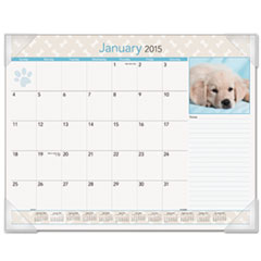 AT-A-GLANCE Puppies Monthly Desk Pad Calendar, 22 x 17, 2015