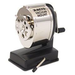 X-ACTO KS Manual Vacuum Mount Classroom Pencil Sharpener, Black/Chrome