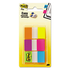 Post-it Flags Flags in Portable Dispenser, Electric Glow, 60 Flags/Pack