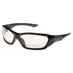 Crews ForceFlex Safety Glasses, Black Frame, Clear Lens