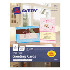 Avery Half-Fold Greeting Cards, Inkjet, 5-1/2 x 8-1/2, Matte White, 20/Box w/Envelopes