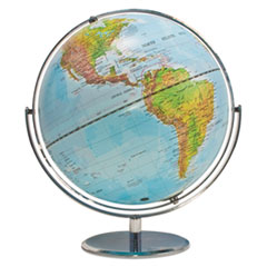 Advantus Physical and Political 12-Inch Globe, Silver Metal Desktop Base