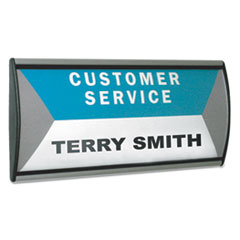 Advantus People Pointer Wall/Door Sign, Aluminum Base, 8 3/4 x 4, Black/Silver