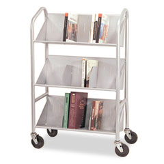 Buddy Products Sloped 3-Shelf Book Cart, 26w x 16d x 41-1/2h, Silver