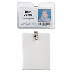 Advantus ID Badge Holder w/Clip, Vertical, 3w x 4h, Clear, 50/Pack