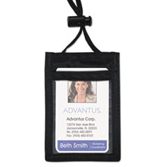 Advantus ID Badge Holder w/Convention Neck Pouch, Vertical, 3 1/4w x 5 1/4, Black, 12/PK