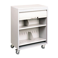 Buddy Products Tambour Locking Medical Cart, 2-Shelf, 26w x 17-3/4d x 34-3/16h, Platinum