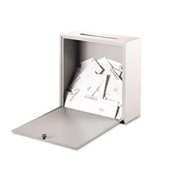 Buddy Products Wall-Mountable Interoffice Mail Collection Box, 18w x 7d x 18h, Platinum