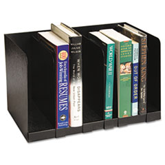 Buddy Products Six Section Book Rack w/Dividers, Steel, 15 x 9 1/4 x 9 1/4, Black