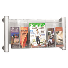Safco Luxe Magazine Rack, Three Compartments, 31-3/4w x 5d x 15-1/4h, Clear/Silver