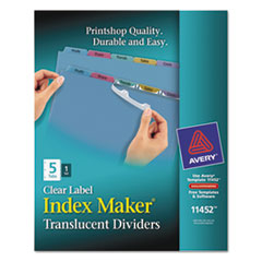 Avery Index Maker Clear Label Punched Dividers, Multicolor 5-Tab, Letter