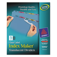 Avery Index Maker Clear Label Punched Dividers, Multicolor 5-Tab, Letter, 5 Sets
