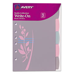 Avery Small Signature Series Write-On Dividers, 5-1/2x8-1/2, 5-Tab, Flowers