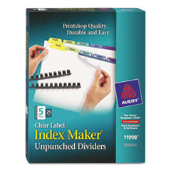 Avery Index Maker Clear Label Contemporary Color Dividers, 5-Tab, 25 Sets/Pack