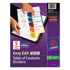 Avery Ready Index Easy Edit Contents Dividers, Title 1-5, Letter, Multicolor, 6 Sets