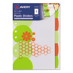 Avery Small Signature Series Write-On Dividers, 5-1/2x8-1/2, 5-Tab, Retro Design