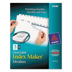 Avery Index Maker Clear Label Dividers, 5-Tab, Letter, White, 25 Sets
