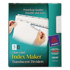 Avery Index Maker Clear Label Punched Dividers, Clear 5-Tab, Letter, 5 Sets