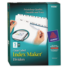 Avery Index Maker Clear Label Punched Divider, 5-Tab, Letter, White, 50 Sets