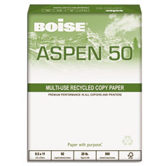 Boise ASPEN 50% Recycled Office Paper, 92 Bright, 20lb, 8-1/2 x 11, White, 5000/CT