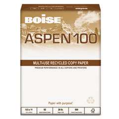 Boise ASPEN 100% Recycled Office Paper, 92 Bright, 20lb, 8-1/2 x 11, White, 5000/CT
