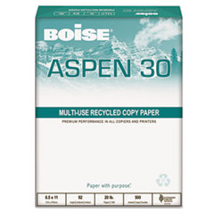 Boise ASPEN 30% Recycled Office Paper, 3-H, 92 Bright, 20lb, 8-1/2 x 11, WE, 5000/CT