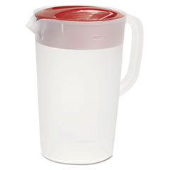 Rubbermaid Commercial VPlastic Pitcher, 1gal, Translucent White/Red, Pour/Strain Lid, 6/Carton