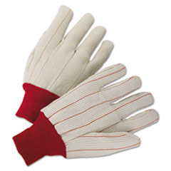 Anchor Brand® GLOVES WORK LIGHT DUTY LG 1000 Series Canvas Gloves, White-red, Large, 12 Pairs