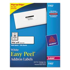 Avery Easy Peel Laser Address Labels, 1-1/3 x 4, White, 1400/Box