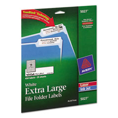 Avery Extra-Large 1/3-Cut File Folder Labels, 15/16 x 3-7/16, White, 450/Pk