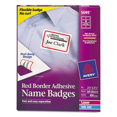 Avery Flexible Self-Adhesive Laser/Inkjet Name Badge Labels, 2-1/3 x 3-3/8, RD, 400/Bx