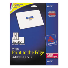 Avery Color Printing Mailing Labels, 1 1/4 x 2 3/8, White, 450/Pack