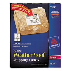 Avery White Weatherproof Laser Shipping Labels, 3-1/3 x 4, 300/Pack