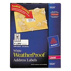 Avery White Weatherproof Laser Shipping Labels, 1 x 2-5/8, 1500/Pack
