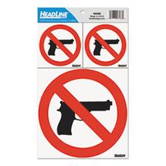 USS 6096 Headline® Sign No Guns Self-Stick Sign USS6096