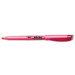 BIC Brite Liner Highlighter, Chisel Tip, Fluorescent Pink Ink, 1 Dozen